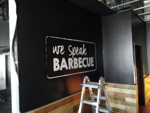 indoor vinyl mural installation